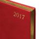 Ежедневник BRAUBERG (БРАУБЕРГ) 2017, А5, 138×213 мм, «Iguana» («Игуана»), «змеиная кожа», 168 л., красный, крем. блок,золотой срез