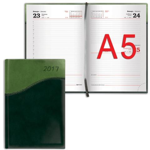 """Ежедневник BRAUBERG (БРАУБЕРГ) датированный 2017, А5, 138×213 мм, «Bond» («Бонд»)«, »комбинированная кожа"""", 168 л., зеленый/<wbr/>салат."""