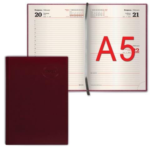 Ежедневник BRAUBERG (БРАУБЕРГ) датированный 2017, А5, 138×213 мм, «Imperial» («Империал»), «гладкая кожа», 168 л., бордовый