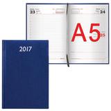 Ежедневник BRAUBERG (БРАУБЕРГ) 2017, А5, 138×213 мм, «Profile» («Профайл»), «фактурная кожа», 168 л., синий