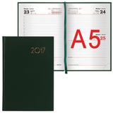 Ежедневник BRAUBERG (БРАУБЕРГ) 2017, А5, 138×213 мм, «Select» («Селект»), «кожа классик», 168 л., зеленый