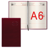 Ежедневник BRAUBERG (БРАУБЕРГ) 2017, А6, 100×150 мм, «Imperial» («Империал»), «гладкая кожа», 168 л., бордовый, кремовый блок