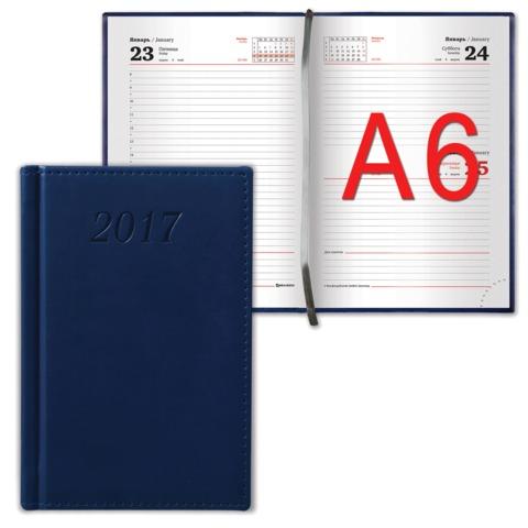 Ежедневник BRAUBERG (БРАУБЕРГ) датированный 2017, А6, 100×150 мм, «London» («Лондон»), «матовая кожа», 168 л., синий
