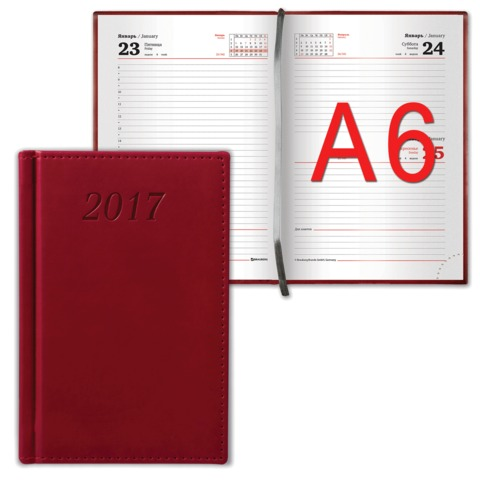 Ежедневник BRAUBERG (БРАУБЕРГ) датированный 2017, А6, 100×150 мм, «London» («Лондон»), «матовая кожа», 168 л., бордовый