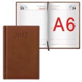 Ежедневник BRAUBERG (БРАУБЕРГ) датированный 2017, А6, 100×150 мм, «London» («Лондон»), «матовая кожа», 168 л., коричневый