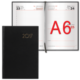 Ежедневник BRAUBERG (БРАУБЕРГ) датированный 2017, А6, 100×150 мм, «Select» («Селект»), «кожа классик», 168 л., черный
