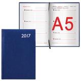 Еженедельник BRAUBERG (БРАУБЕРГ) датированный 2017, А5, 148×218 мм, «Profile» («Профиль»), «фактурная кожа», 64 л., синий