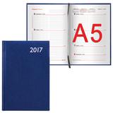 Еженедельник BRAUBERG (БРАУБЕРГ) 2017, А5, 148×218 мм, «Profile» («Профиль»), «фактурная кожа», 64 л., синий