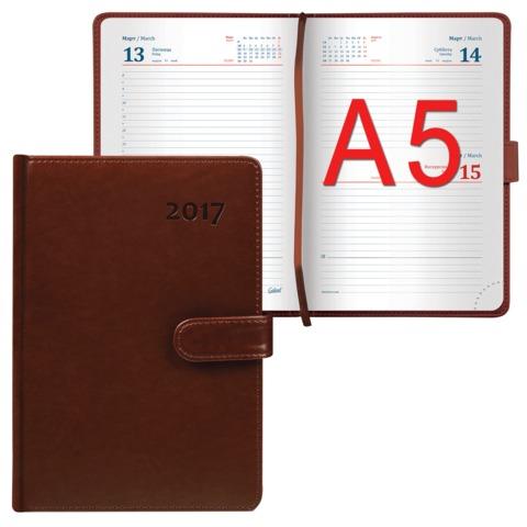 Ежедневник GALANT датированный 2017, А5, 148×218 мм, «Ritter», 168 л., «гладкая кожа», магнитная застежка, коричневый