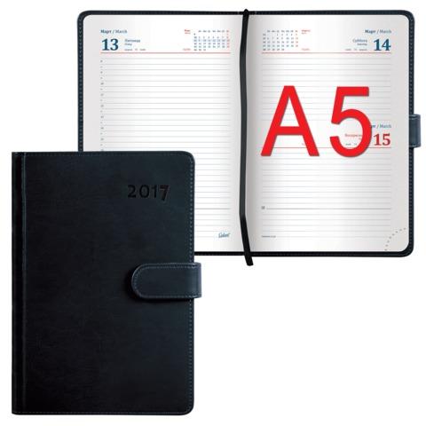 Ежедневник GALANT датированный 2017, А5, 148×218 мм, «Ritter», 168 л., «гладкая кожа», магнитная застежка, черный
