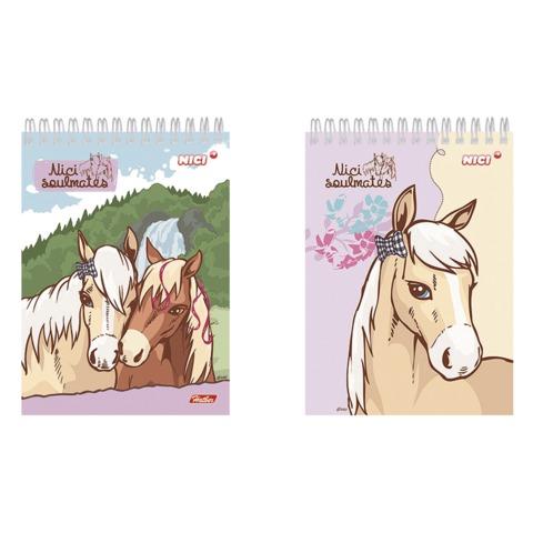 Блокнот А6, 60 л., гребень, обложка мелованный картон, HATBER, «Лошадки» (NICI), 105×140 мм