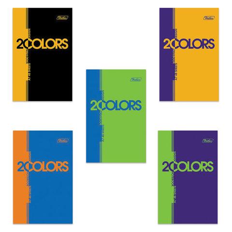 """Блокнот А7, 48 л., склейка, 3-х цветный блок, HATBER, """"2COLORS"""", 65х100 мм, 48Б7В1к"""