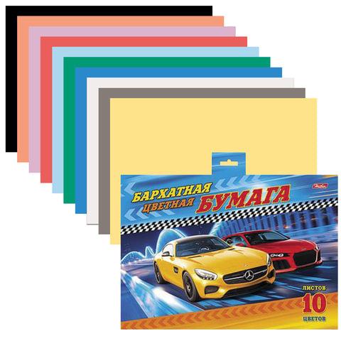 """Цветная бумага, А5, бархатная, 10 цветов, HATBER """"Машинки"""", 165х220 мм, 10Ббх5 14314"""