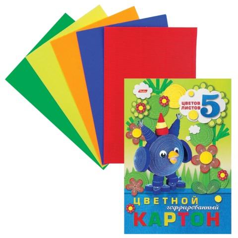 Цветной картон, А4, гофрированный, 5 листов, 5 цветов, HATBER, «Совенок», 195×285 мм