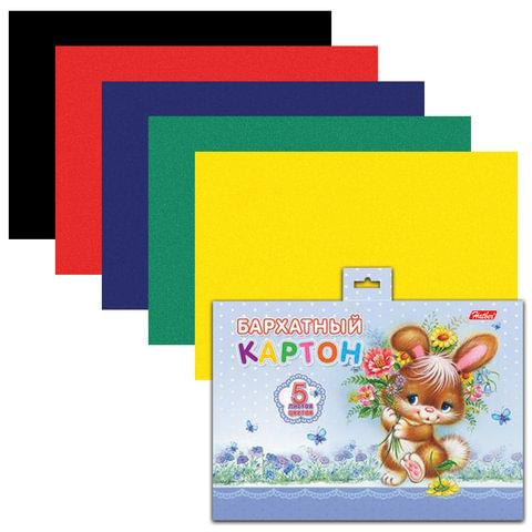 """Цветной картон, А5, бархатный, 5 цветов, HATBER """"Зайка"""", 165х220 мм, 5Кбх5 00061"""