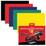 Цветной картон, А5, бархатный, 5 листов, 5 цветов, HATBER, «Машина» («Hot wheels»), 165×220 мм