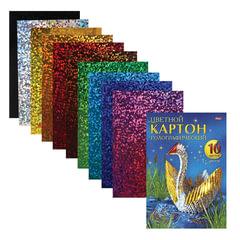 Цветной картон, А5, голографический, 10 листов, 10 цветов, HATBER, «Лебедь», 195×285 мм, 10Кц4гф 14465