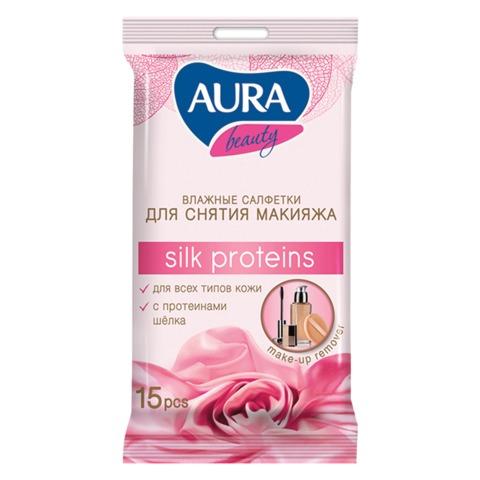 Салфетки влажные, 15 шт., AURA «Beauty», для снятия макияжа
