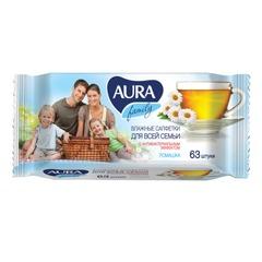 Салфетки влажные, 63 шт., AURA, универсальные, очищающие, для всей семьи