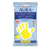 Салфетки влажные, 15 шт., AURA «Antibacterial», антибактериальные, с еврохолом, «Стикер рука»