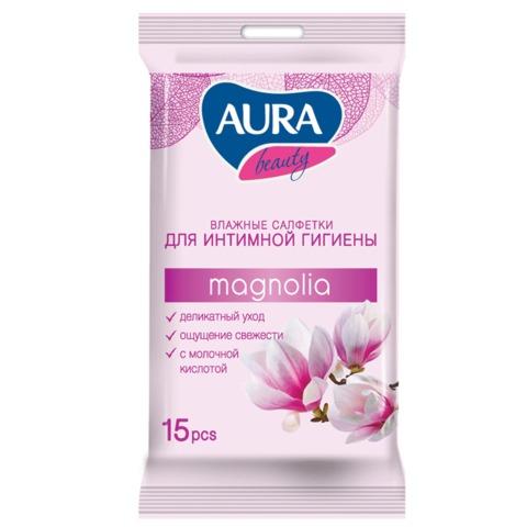 Салфетки влажные, 15 шт., AURA «Beauty», для интимной гигиены, деликатный уход, очищающие-освежающие