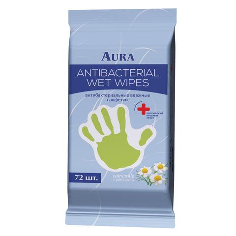 Салфетки влажные, 72 шт., AURA «Antibacterial», антибактериальные, «Стикер рука»