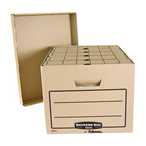 Короб архивный FELLOWES Bankers Box «Basic», 33,5×44,5×27 см, с крышкой, гофрокартон, коричневый