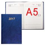 Ежедневник BRAUBERG (БРАУБЕРГ) 2017, А5, 145×215 мм, 160 л., обложка бумвинил, синий