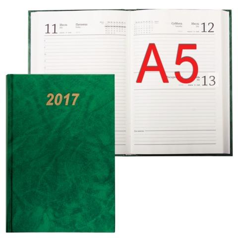 Ежедневник BRAUBERG (БРАУБЕРГ) датированный 2017, А5, 145х 216 мм, 160 л., обложка бумвинил, зеленый