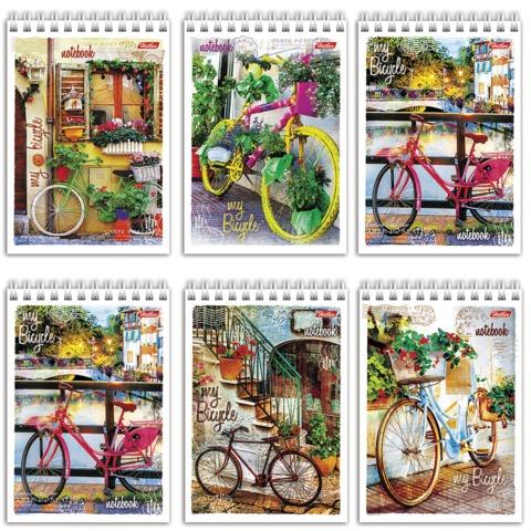 """Блокнот А6, 80 л., гребень, обложка мелованный картон, HATBER, """"Лето на велосипеде"""", 105х140 мм, 80Б6Вгр"""