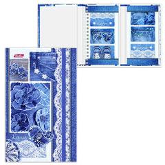 Записная книжка+блокнот, А6, 80+50 л., гребень/<wbr/>склейка, на резинке, HATBER, «Джинсы», 80+50ЗКт6Вгр 14776
