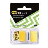 Закладки самоклеящиеся POST-IT Study, пластиковые, 25 мм, 22 шт., желтые
