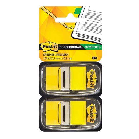Закладки самоклеящиеся POST-IT Professional, пластиковые, 25 мм, 100 шт., желтые