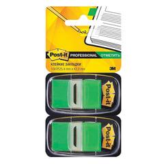 Закладки клейкие POST-IT Professional, пластиковые, 25 мм, 100 шт., зеленые
