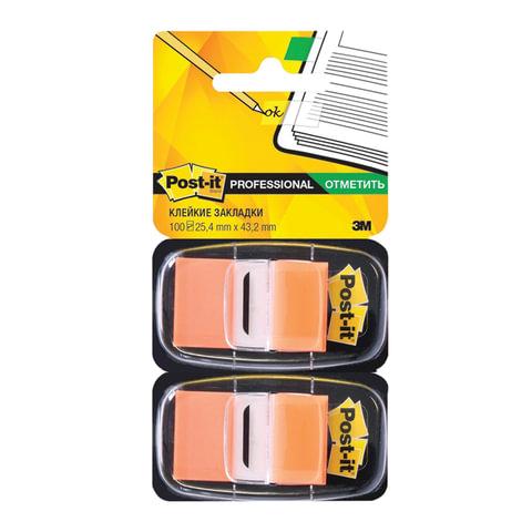 Закладки самоклеящиеся POST-IT Professional, пластиковые, 25 мм, 100 шт., оранжевые