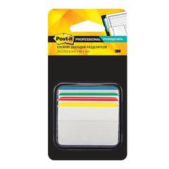 Закладки клейкие POST-IT Professional, пластик, 50 мм, 4 цвета х 6 шт., суперклейкие, со сгибом