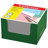 Блок для записей ERICH KRAUSE в подставке картонной зеленой, куб, 8×8×5 см, белый