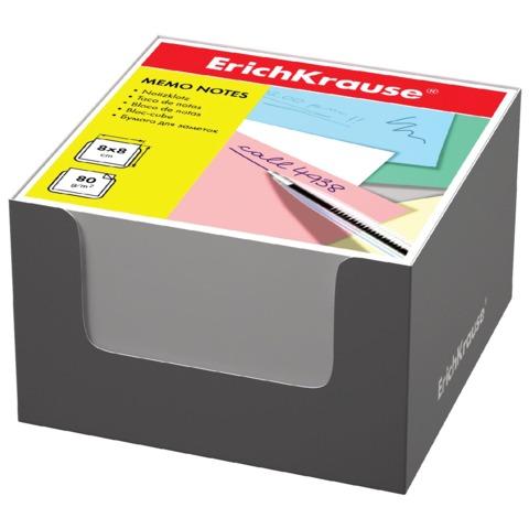 Блок для записей ERICH KRAUSE в подставке картонной серой, куб, 8×8×5 см, белый