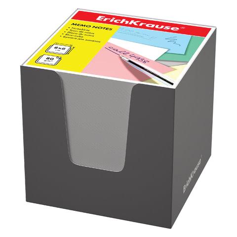 Блок для записей ERICH KRAUSE в подставке картонной серой, куб, 8х8х8 см, белый