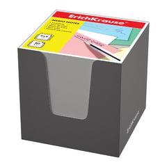Блок для записей ERICH KRAUSE в подставке картонной серой, куб, 9×9×9 см, белый, белизна 95-98%