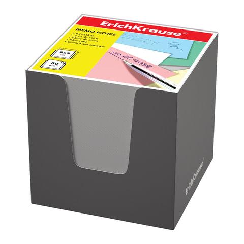 Блок для записей ERICH KRAUSE в подставке картонной серой, куб, 9х9х9 см, белый, белизна 95-98%