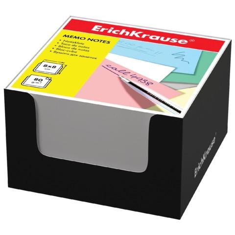 Блок для записей ERICH KRAUSE в подставке картонной черной, куб, 8×8×5 см, белый