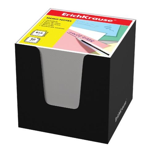 Блок для записей ERICH KRAUSE в подставке картонной черной, куб, 8х8х8 см, белый