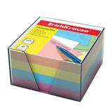 Блок для записей ERICH KRAUSE в подставке прозрачной, куб, 9×9×5 см, цветной