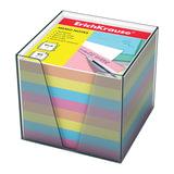 Блок для записей ERICH KRAUSE в подставке прозрачной, куб, 9×9×9 см, цветной