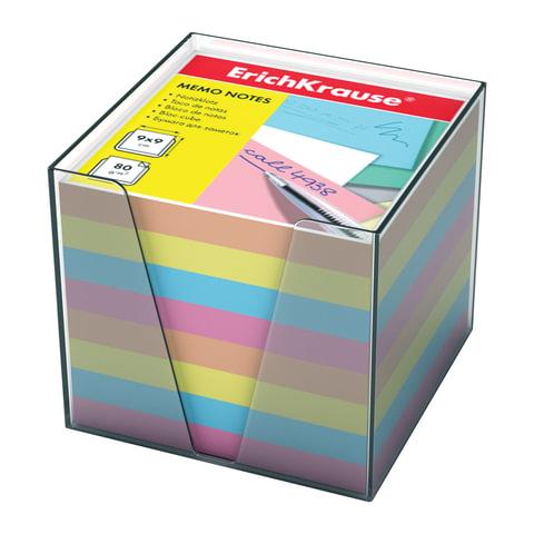 Блок для записей ERICH KRAUSE в подставке прозрачной, куб 9х9х9 см, цветной