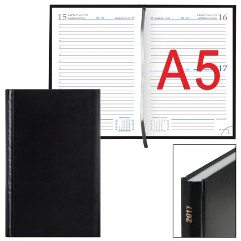 """Ежедневник ERICH KRAUSE датированный 2017, А5, 148×210 мм, «Ariane», под кожу классик"""", 176 л., черный"""