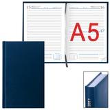 Ежедневник ERICH KRAUSE датированный 2017, А5, 148×210 мм, «Ariane», под кожу «классик», 176 л., синий