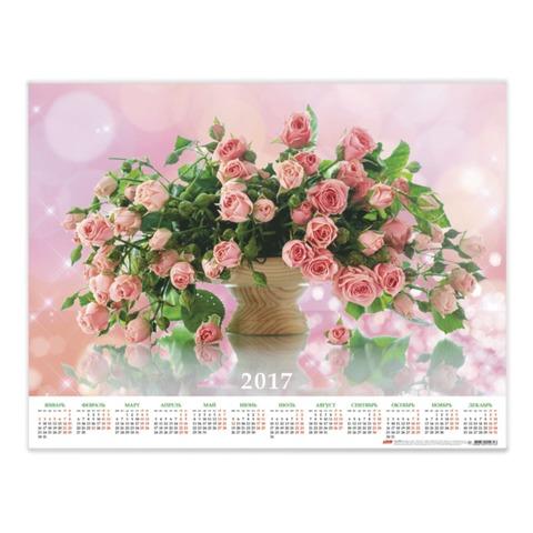 Календарь А2 на 2017 г., HATBER, 45×60 см, горизонтальный, «Роскошные розы»