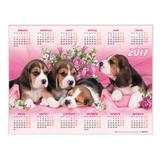 Календарь А2 на 2017 г., HATBER, 45×60 см, горизонтальный, «Щенки»